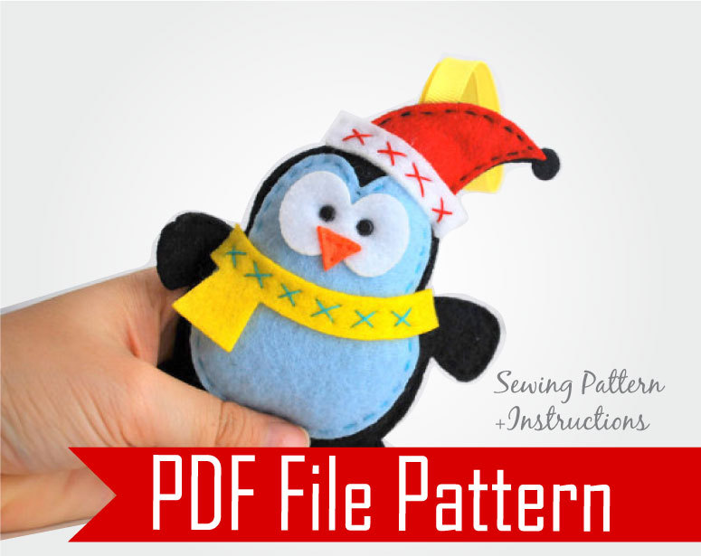 Felt Penguin Christmas Ornament Sewing pattern - PDF ePATTERN A480
