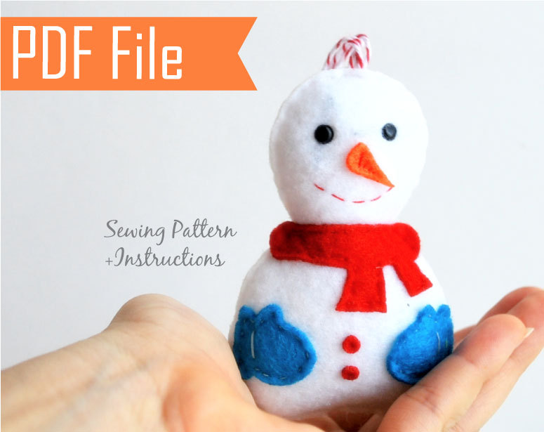 Snowman Christmas Ornament Pdf Sewing Pattern Kids Craft Project