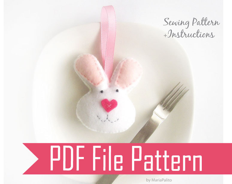 Bunny Sewing Pattern   PDF EPATTERN   Felt Bunny Mini Plush, Valentine Day  Bunny A323