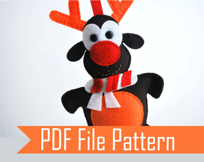 Reindeer Pdf Sewing Pattern Adorable Rudolph Felt