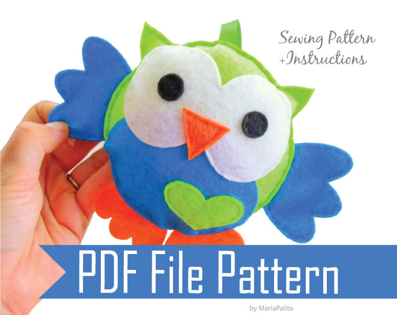 Baby Owl Sewing Pattern Pdf Epattern For Felt Owl Toy Pillow A325