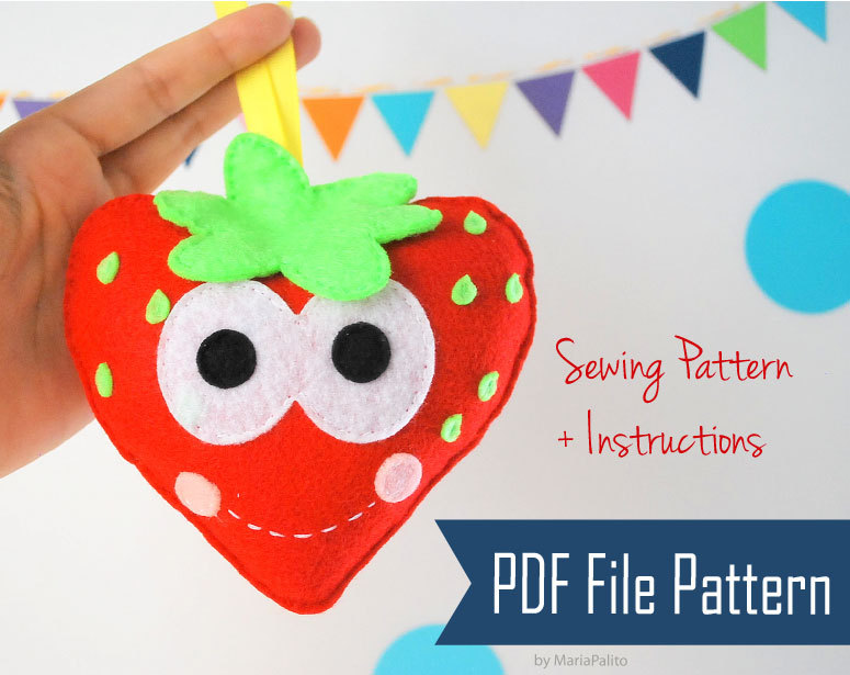DIY Sewing Pattern, Happy Strawberries PDF Sewing Pattern , Kids ...