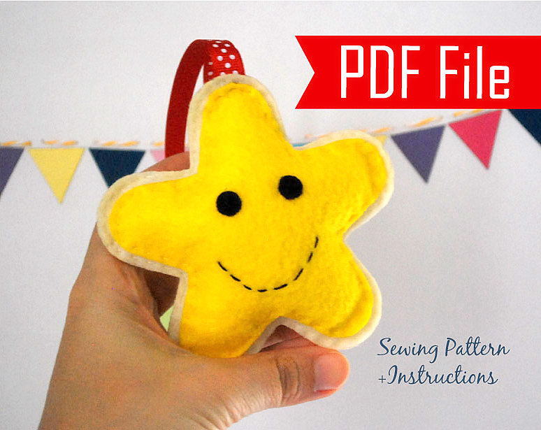 diy happy star felt christmas ornament gingerbread cookie ornament instant download mariapalito a870