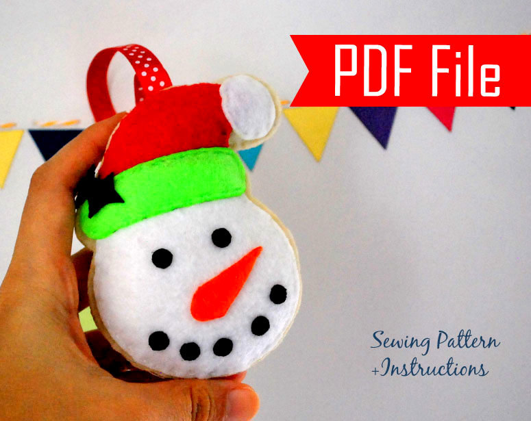 DIY Snowman Christmas Ornament PDF Cookie Sewing Pattern , Kids ...