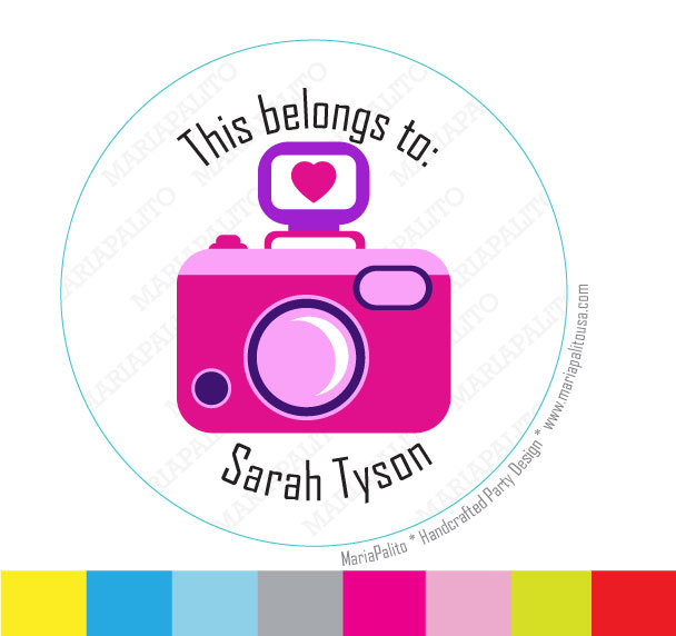 Camera Stickers, This belong to: Personalized PRINTED round Stickers, tags, Labels or Envelope Seals A960