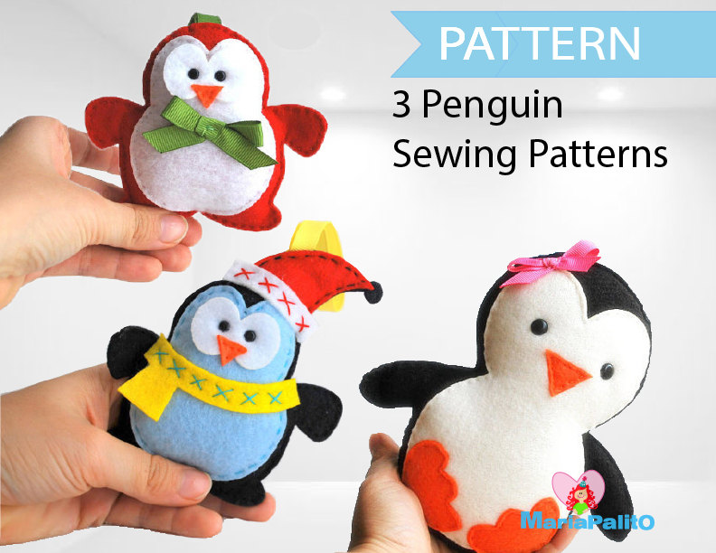 3 Penguin Patterns Felt Christmas Penguin Patterns