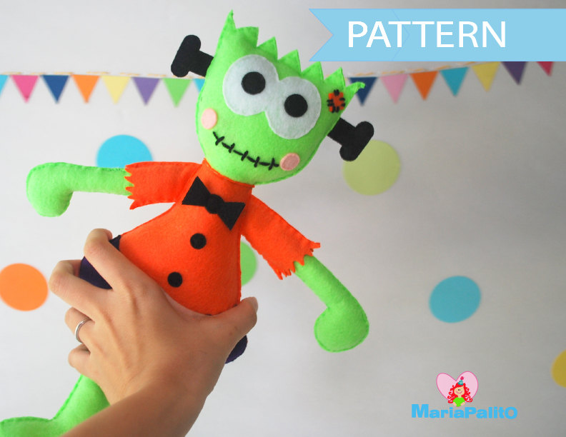 Halloween Sewing Pattern Toy , Felt Frankie Halloween Toy, Toy ...