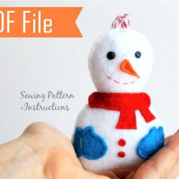 Snowman Christmas Ornament PDF Sewing pattern , Kids craft Project A773