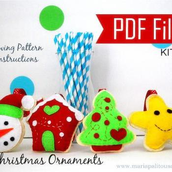 PDF DIY Christmas Ornament set of 4 Felt Sewing Pattern Snowman, gingerbread house, happy Star, Christmas Tree- Kit B MariaPalito A867