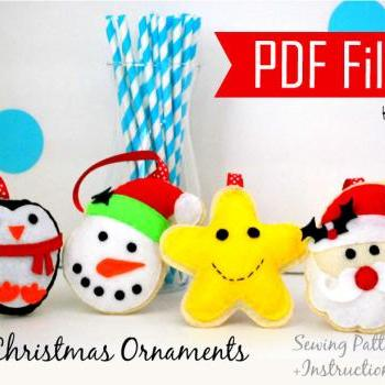 PDF DIY Christmas Ornament set of 4 Felt Ornaments, Sewing Pattern Snowman, Santa, happy Star, Penguin- Kit A MariaPalito A868
