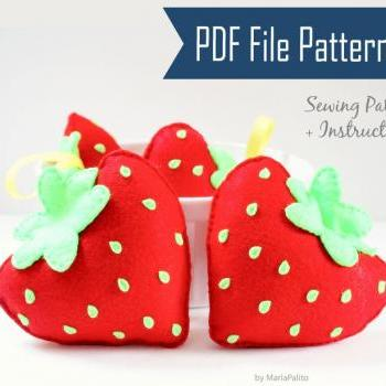 Strawberry DIY Sewing Pattern, Felt Strawberry Plush Kids craft Project MariaPalito Instant Download A869