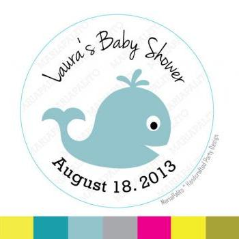 Baby Shower Whale Stickers, Baby Shower or Birthday PRINTED round Stickers, tags, Labels or Envelope Seals MariaPalito A809