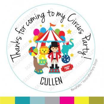 CIRCUS stickers Party Personalized PRINTED round Stickers,Happy Birthday tags, Labels or Envelope Seals MariaPalito A931