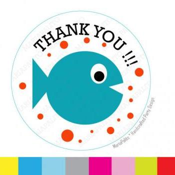 Baby Fish Stickers,Thank you Fish stickers, Under the sea party Favor Stickers, Thank You Labels or Envelope Seals MariaPalito A935