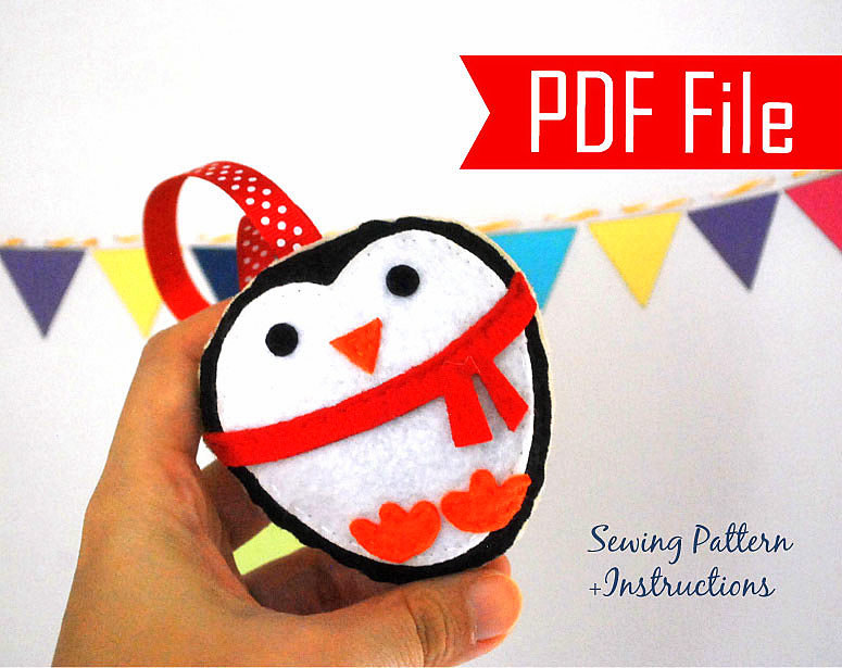 Diy Penguin Christmas Ornament Pdf Cookie Sewing Pattern Kids